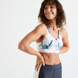 Brassière Zip fitness cardio training femme imprimé blanc et rose 900