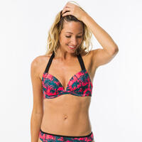 Women's push-up swimsuit top with fixed padded cups ELENA PRESANA - PINK