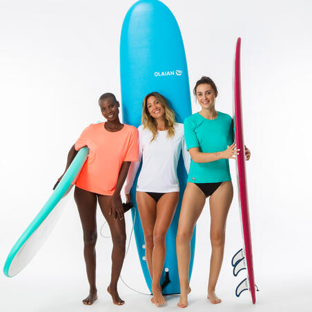 Camiseta Protección Solar Surf Olaian Mujer Turquesa
