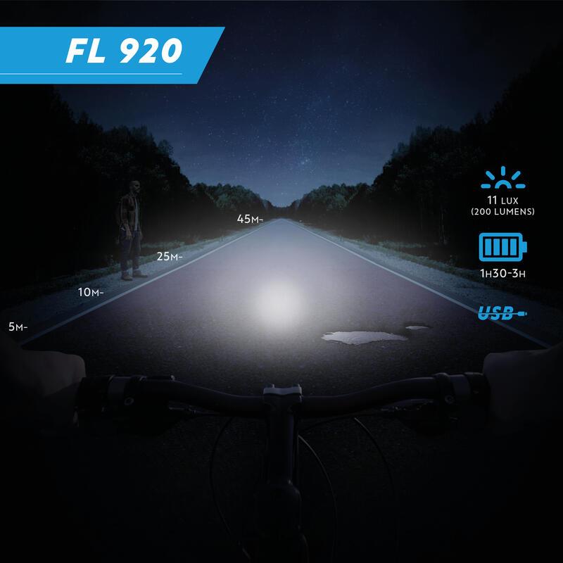 ไฟหน้า/หลังจักรยาน LED รุ่น FL 920 ชาร์จไฟผ่าน USB ได้