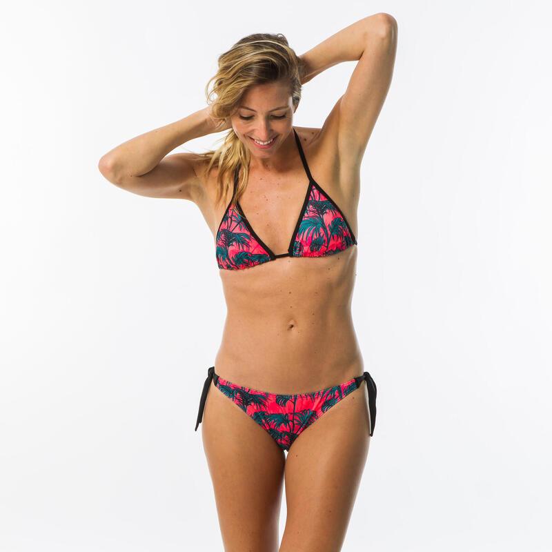Top Bikini Triángulo Surf Mujer Olaian Mae Copas Extraíbles Desmontables Negro