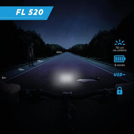 Priekšējais velosipēda lukturis/slēdzene FL 520, USB