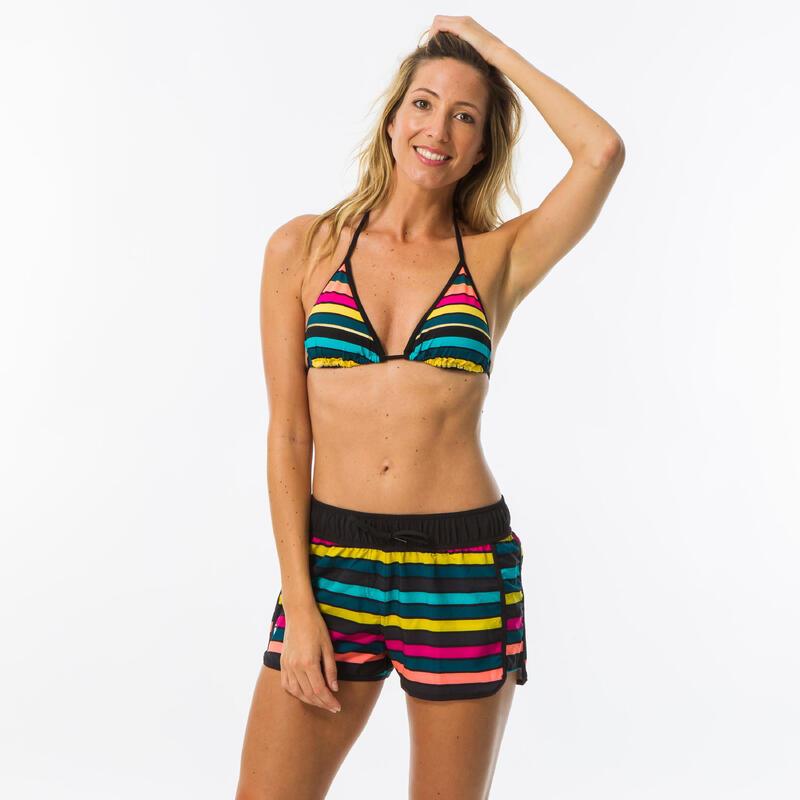 Pantalón Bañador Short Surf Mujer Olaian Negro Rayas Colores Cordón Ajustable
