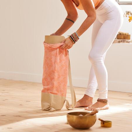Eco-Friendly Yoga Mat Bag - Coral/Palm Trees