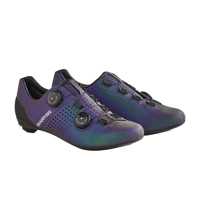 Fietsschoenen voor sportief wielrennen Van Rysel reflecterend blauw
