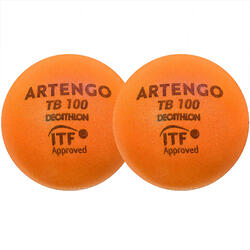 Foam tennisbal TB100 9 cm oranje 2 stuks