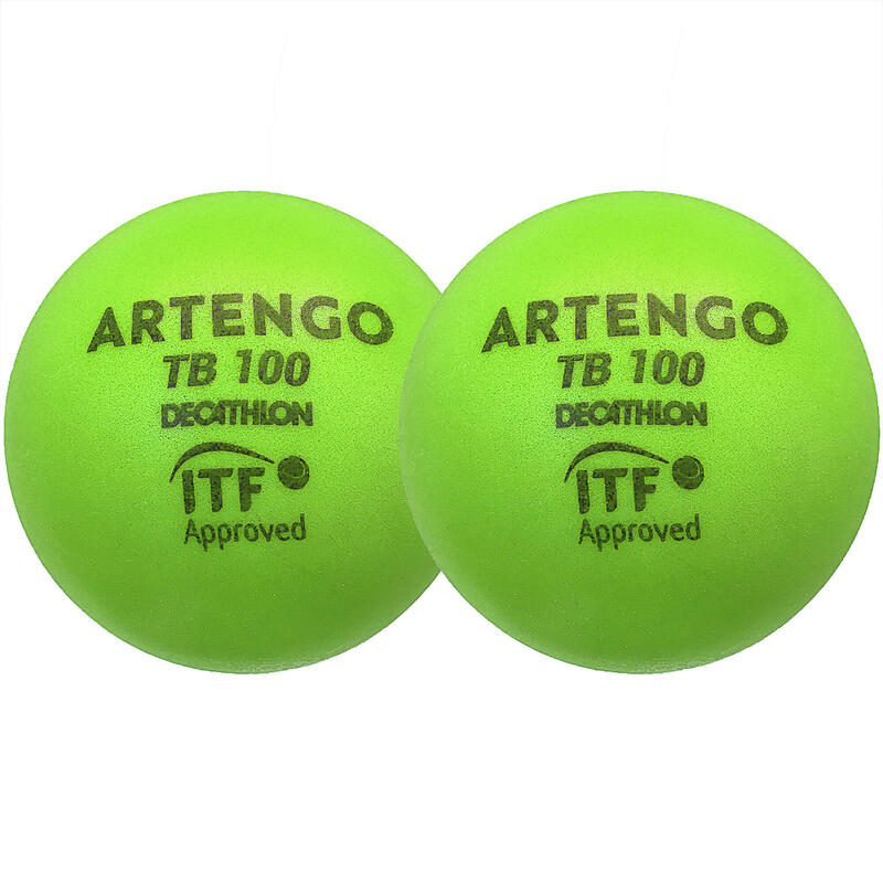 9cm Foam Tennis Ball TB100 Twin-Pack - Green