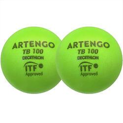 Tennisbal van schuim TB100 9 cm groen 2 stuks
