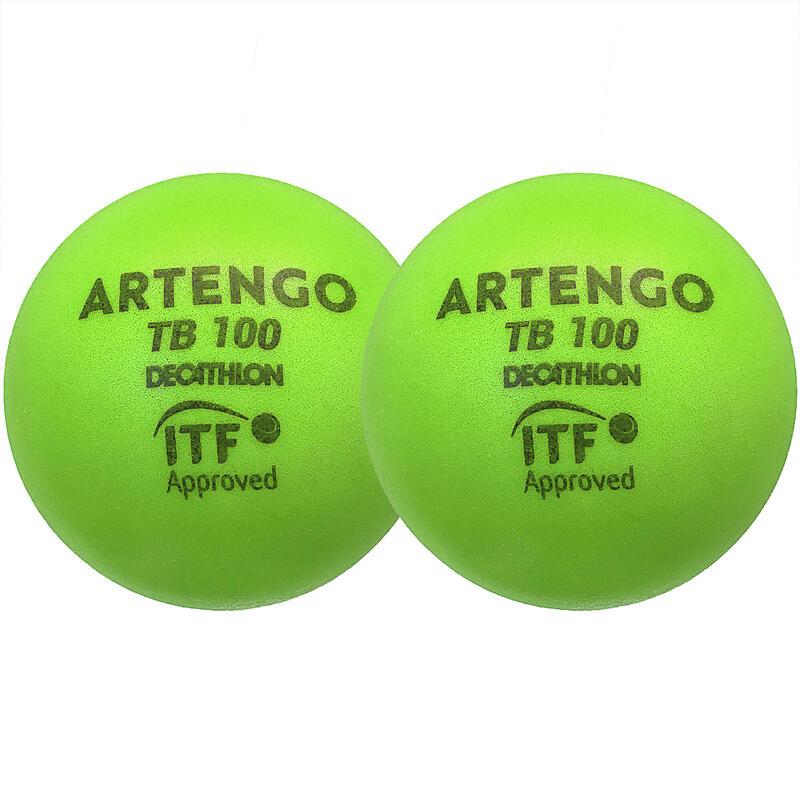 Foam tennisbal TB100 9 cm groen 2 stuks