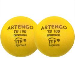 Foam tennisbal TB100 9 cm geel 2 stuks