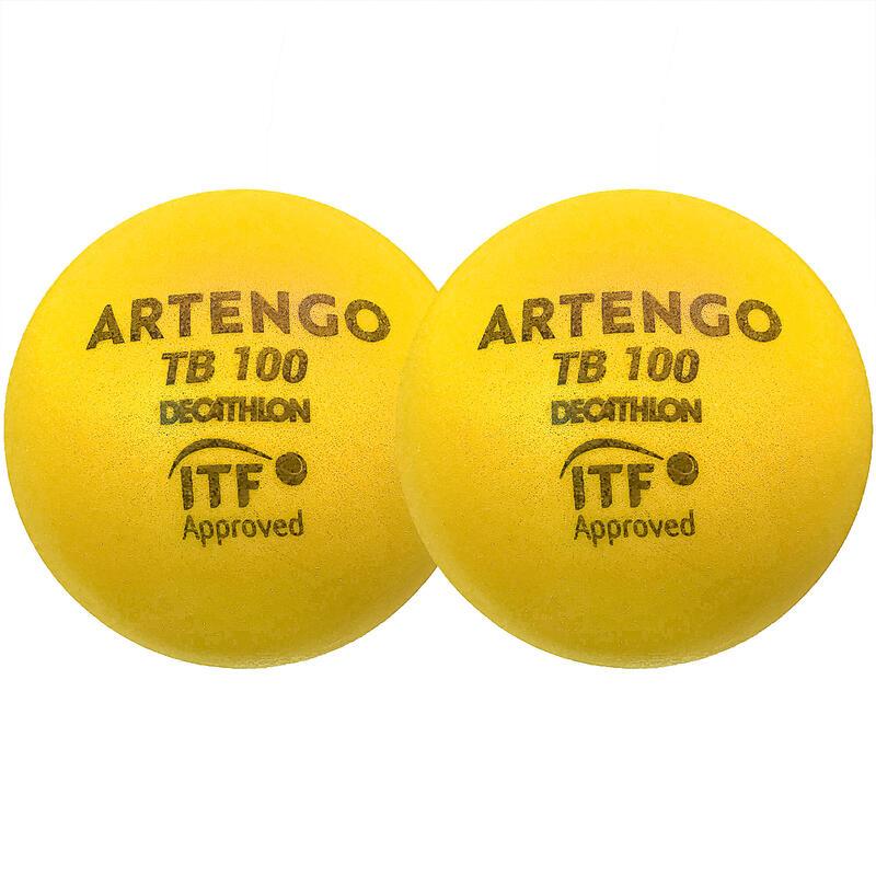 Tennisbal van schuim TB100 9 cm geel 2 stuks