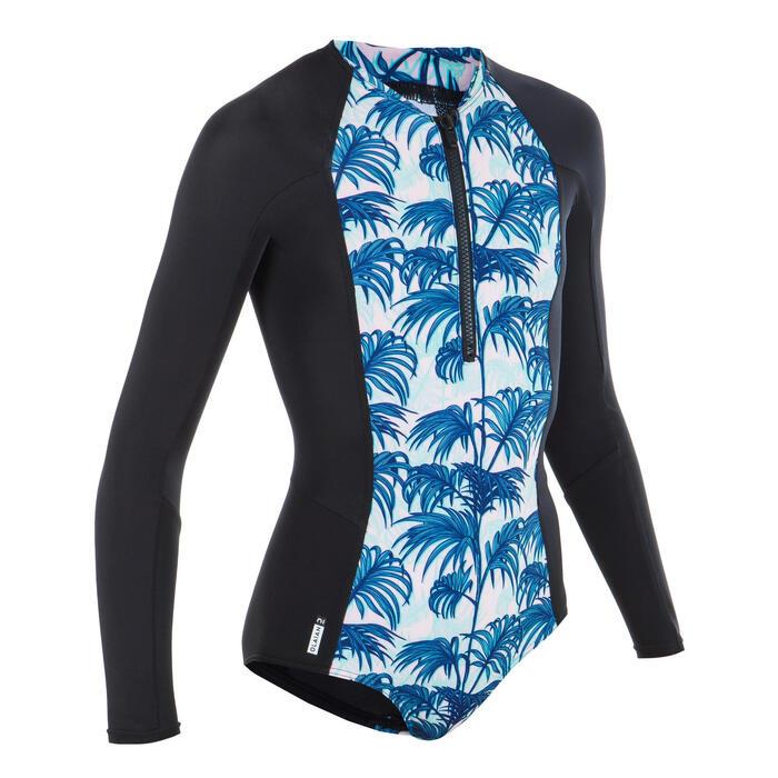 One-piece long-sleeve swimsuit - Black Turquoise