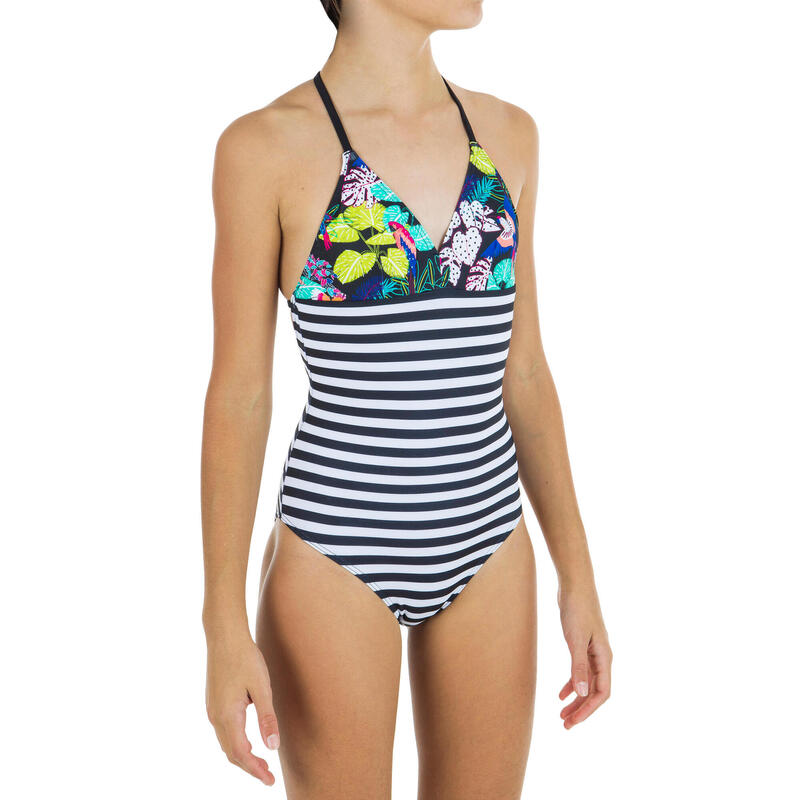 Costum Întreg Surf HIMAE 500 Imprimeu tropical Fete