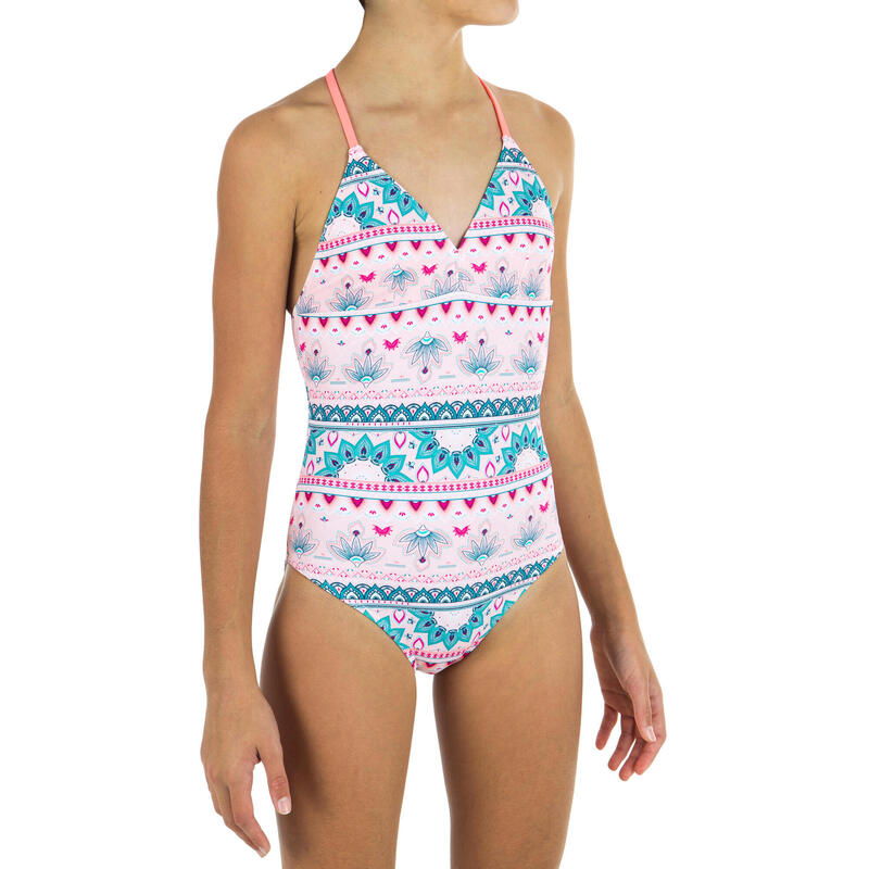GIRL'S One-piece swimsuit HIMAE 500 - Pink PAGI