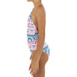 maillot de bain 1 pièce rose HIMAE GIRL500 PAGI