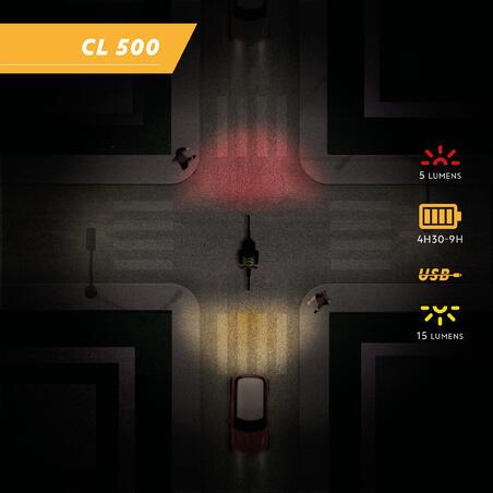 LUZ LED PARA BICICLETA CL 500 DELANTERA/TRASERA NEGRO USB