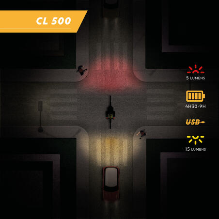 CL 500 Front/Rear LED USB Bike Light  - Black