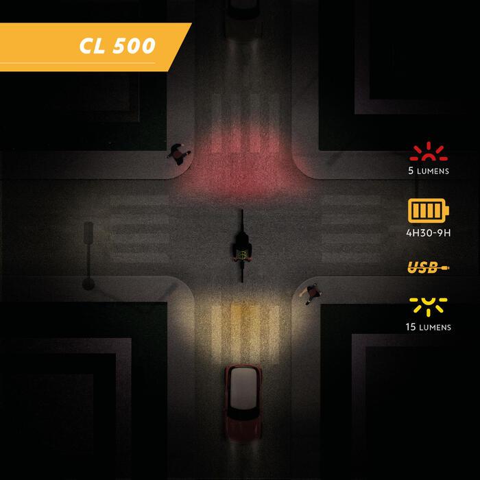 Fietsverlichting op led CL 500 voor- en achteraan USB Vioo Clip zwart
