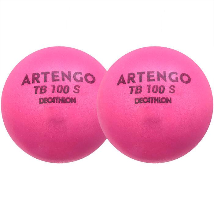 7cm Foam Tennis Ball TB100 Twin-Pack - Pink
