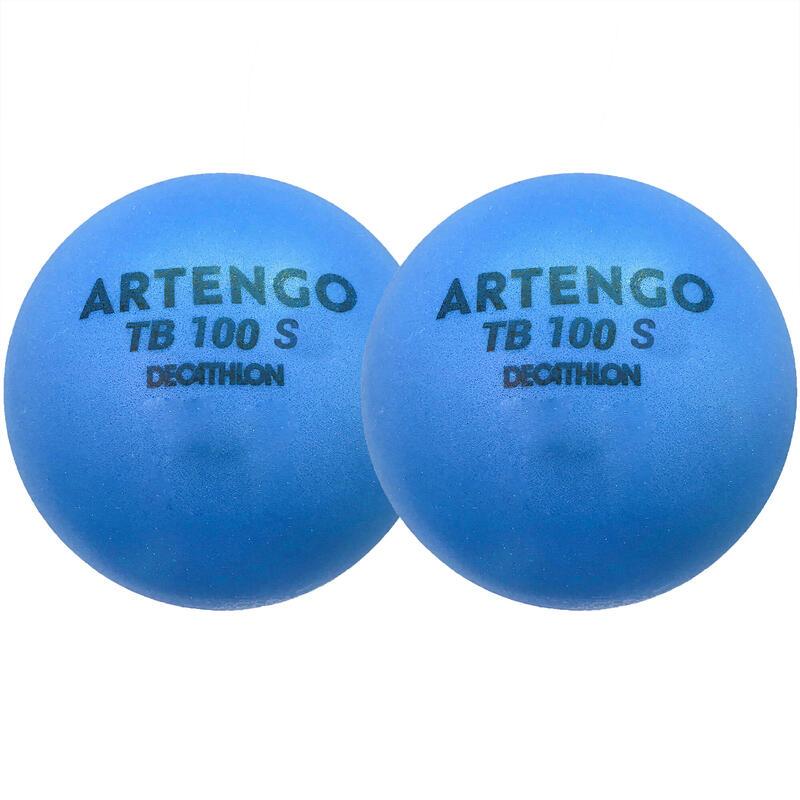 Foam tennisbal TB100 7 cm blauw 2 stuks