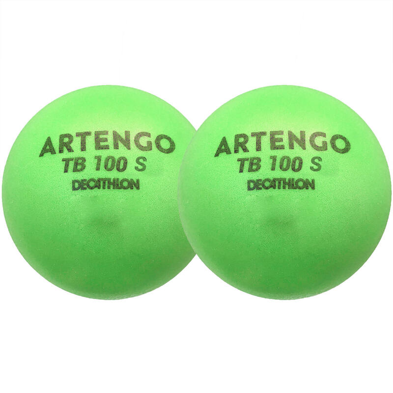 7cm Foam Tennis Ball TB100 Twin-Pack - Green