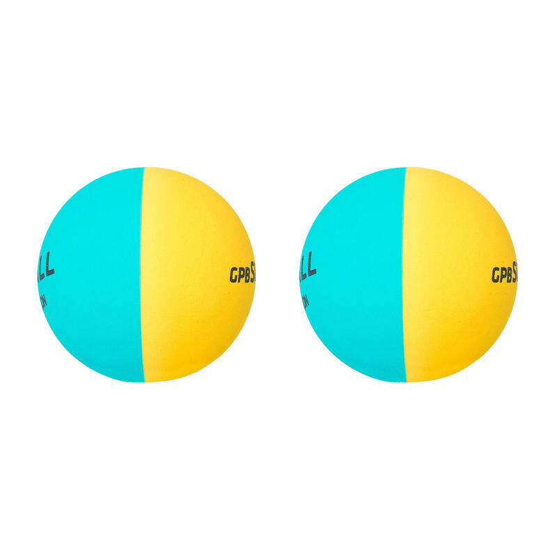 Balles initiation Pelote GPB soft bicolore Jaune Bleu Turquoise (x2)