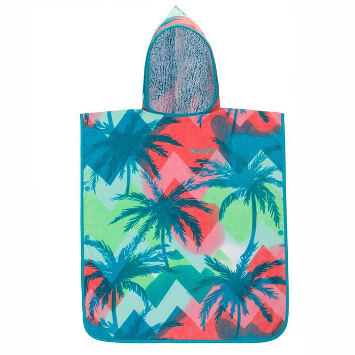 兒童款衝浪毛巾衣500(110到135 cm)-熱帶島嶼款