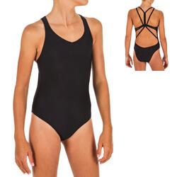 Badpak voor synchroonzwemmen voor meisjes zwart