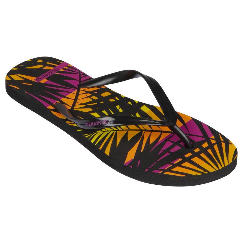 Chanclas Dedo Playa Surf Mujer Olaian Negro Suela Estampado