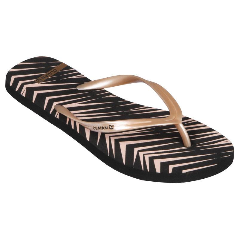 Chanclas Dedo Playa Surf Mujer Olaian Negro Rosa Suela Estampado