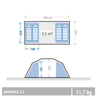 Tente à arceaux de camping - Arpenaz 4.2 - 4 Personnes - 2 Chambres