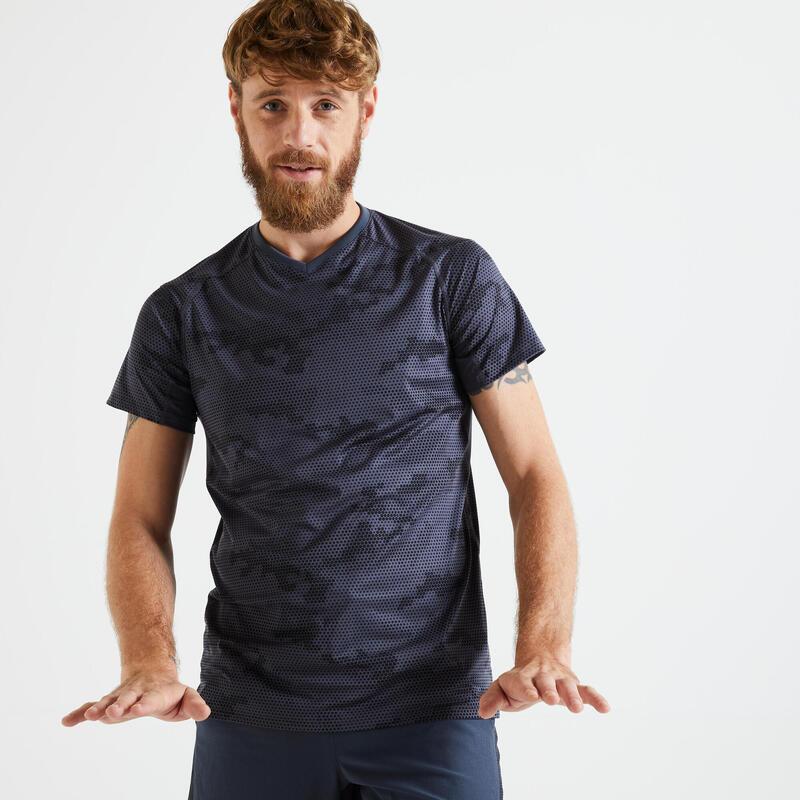 T shirt technique fitness gris noir imprimé slim