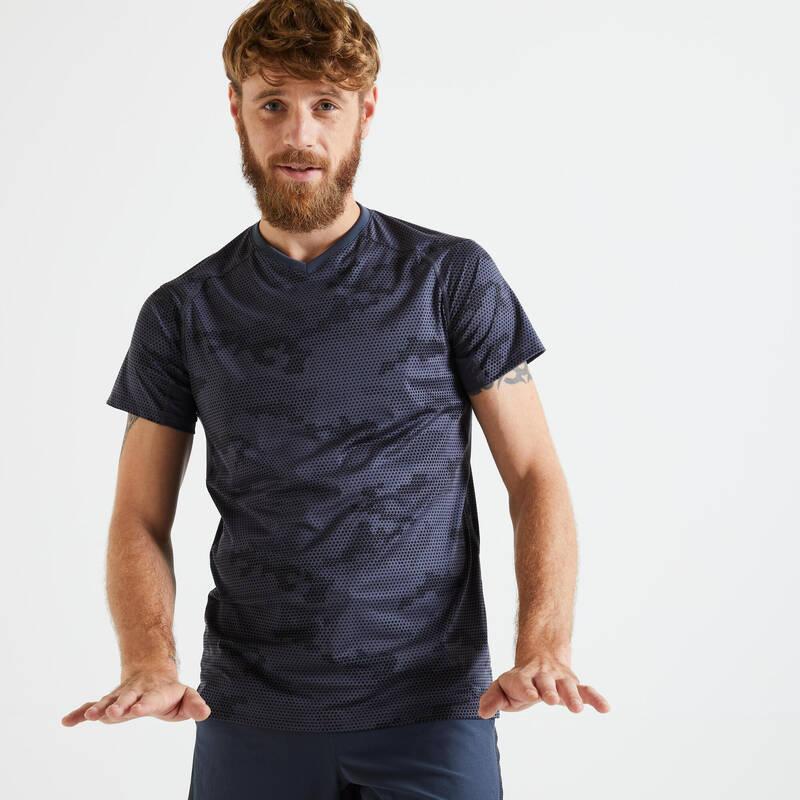 PÁNSKÉ OBLEČENÍ NA KARDIO FITNESS Fitness - PÁNSKÉ TRIČKO 500 SLIM ŠEDÉ DOMYOS - Fitness oblečení a boty