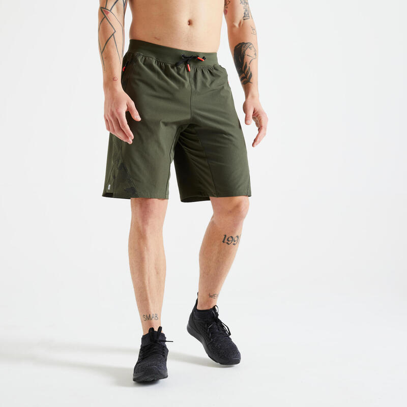 Short training fitness khaki imprimé