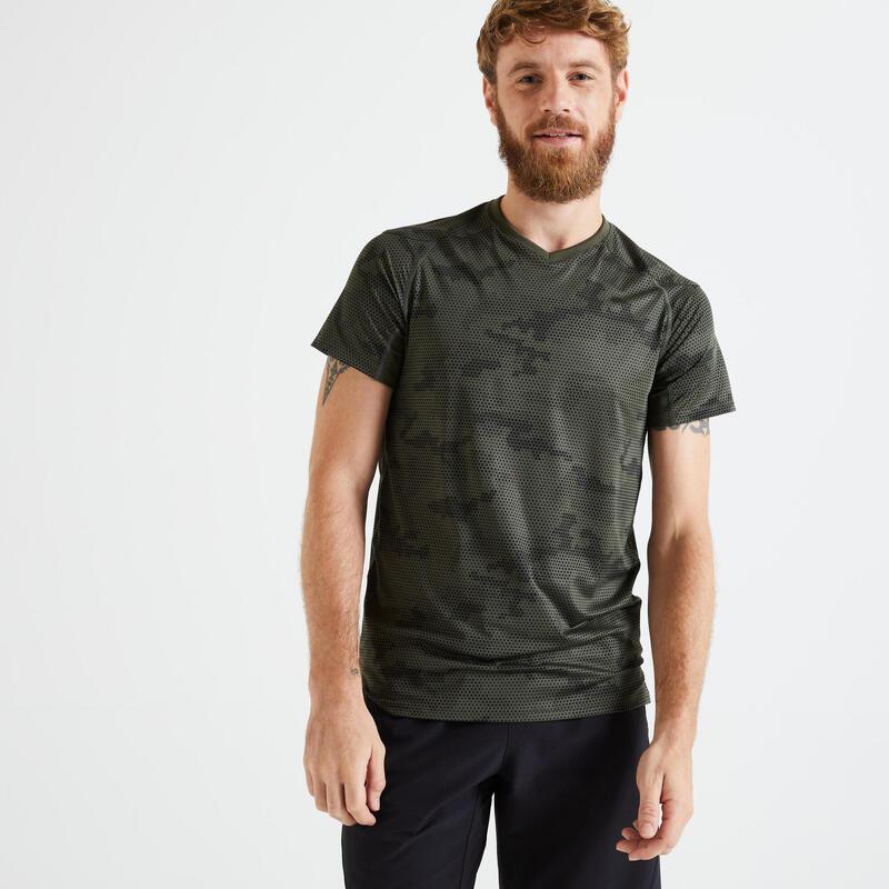 T shirt Technique fitness khaki noir imprimé slim