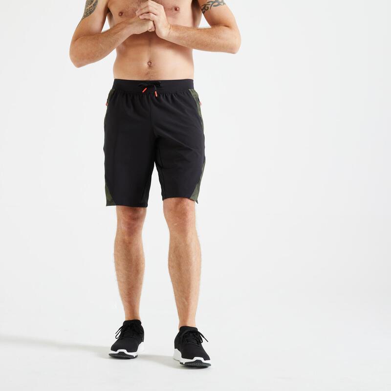 Trainingshort voor fitness zwart met kaki print