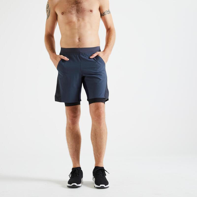 Short training fitness 2 en 1 gris imprimé