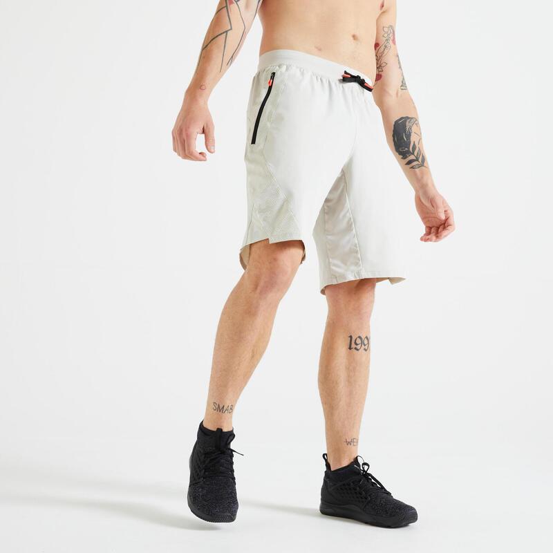 健身訓練短褲 - 印花米色