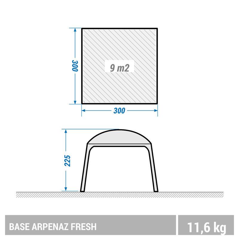 เต็นท์นั่งเล่นขณะตั้งแคมป์แบบมีห่วงยึดรุ่น Arpenaz Base Fresh สำหรับ 10 คน