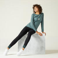 Stretchy Long-Sleeved Cotton Fitness T-Shirt - Green Print
