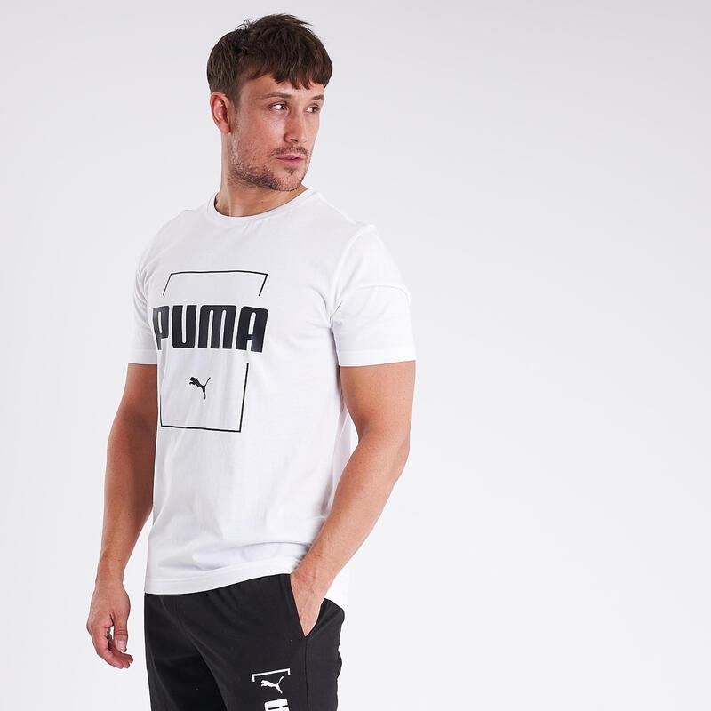 T-shirt fitness Puma manches courtes slim 100% coton col rond homme blanc