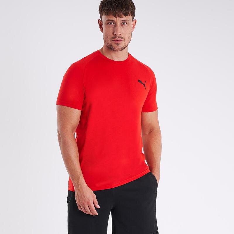 T-shirt fitness Puma manches courtes slim coton col rond homme rouge à imprimé