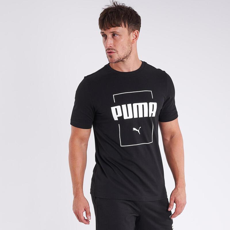 T-shirt fitness Puma manches courtes slim 100% coton col rond homme noir