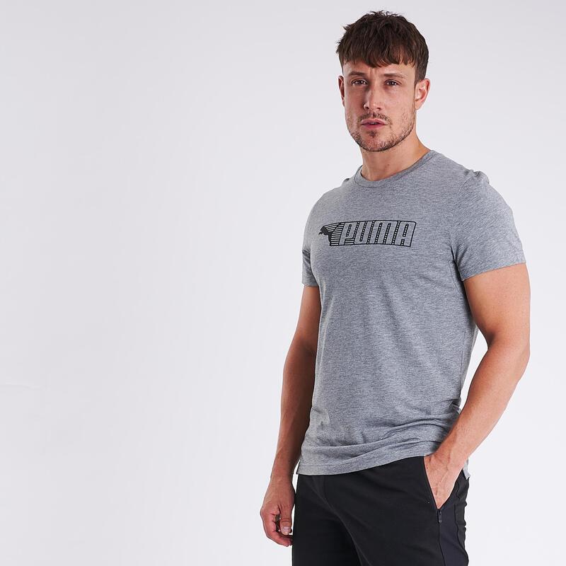 T-shirt fitness Puma manches courtes slim coton col rond homme gris