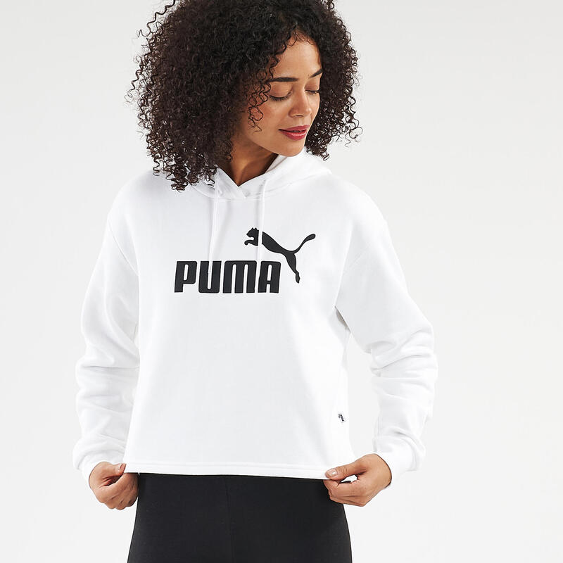 Sweat à capuche court Puma Fitness Blanc
