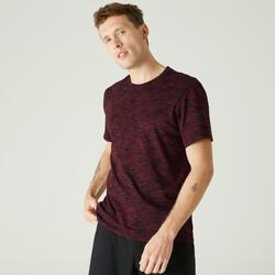 T-Shirt Coton Extensible Fitness Bordeaux avec Imprimé