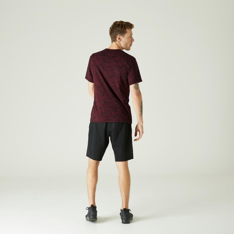Fitness Stretch Cotton T-Shirt - Burgundy Print