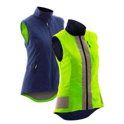 Omkeerbaar fietsjack dames 500 PBM-certificering marineblauw/geel