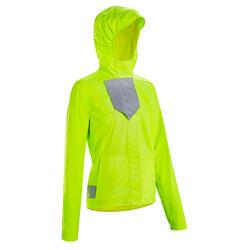 Fietsregenjas voor dames stad 500 dag en nacht zichtbaar PBM-certificering geel