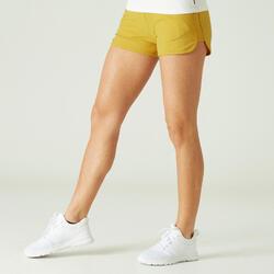 Calções Fitness Mulher Algodão Biológico com Bolsos Corte Direito Amarelo